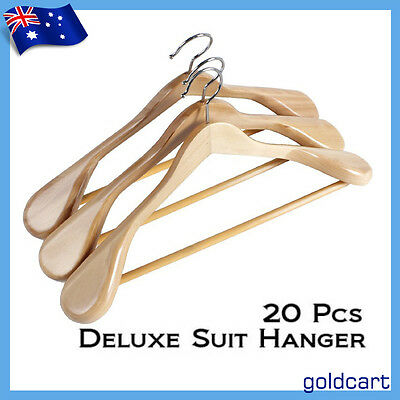 20 PCS Wood Broad Shoulders Wooden Coat Hangers Timber Deluxe Suit Non Slip Tube