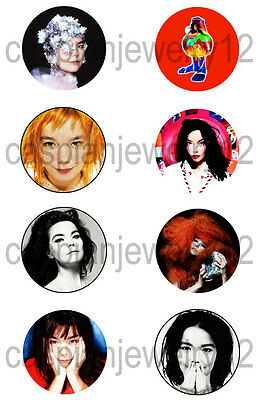 8 piece lot of Bjork pins buttons badges