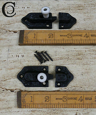 "Cupboard Slide Bolt 3"" Antique Iron Finish With Ceramic Knob Reproduction"