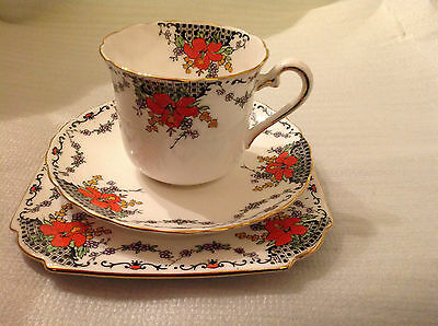 Rare Pretty Blue & Orange Floral Trio Taylor Kent Longton Stunning