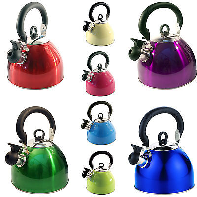 2.5L Stainless Steel Whistling Kettle Electric Gas Hob Camping Multi Colours