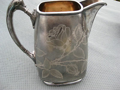 REED AND BARTON  Water Pitcher Silver Plated VINTAGE ANTIQUE ROSE HANDLE  ETCHED