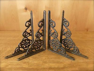 "4 BROWN ANTIQUE-STYLE 6.5"" SHELF BRACKETS CAST IRON rustic garden DECORATIVE"