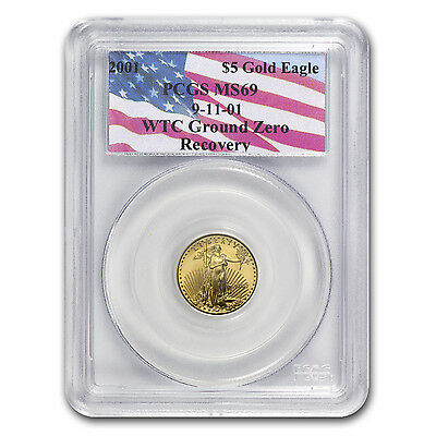 2001 1/10 oz Gold American Eagle Coin - MS-69 PCGS - World Trade Center Coin