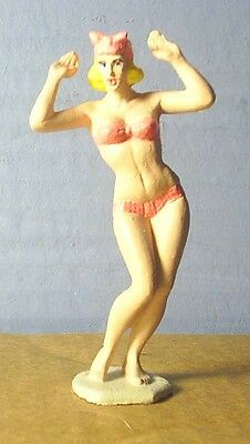 HAND PAINTED METAL 1960'S BATHING WOMAN 60MM
