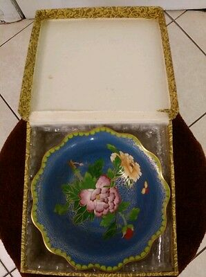 Antique China Cloisone Handmade Brash Washer/Bowl Birds Frowers Ename 6by2.5inch