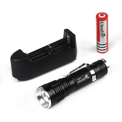 UltraFire Black CREE XM-L T6 2000LM  Zoomable LED Flashlight+Battery&Charger