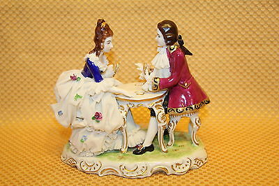Antique Crown Dresden Dec Decor Courting Couple Playing Cards Porcelain Figurine