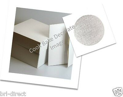 "Cake Drum Board Box SET - Square Or Round with White Box 8"" 10"" 11"" 12"" 14"" 16"