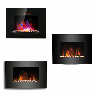 Wall Mounted Electric Fire Fireplace Black Curved Glass Heater LED Flame Effect