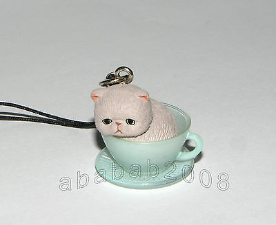 Takara Tomy Cat / Kitten in Tea Cup Strap mini figure ( one figure) A style