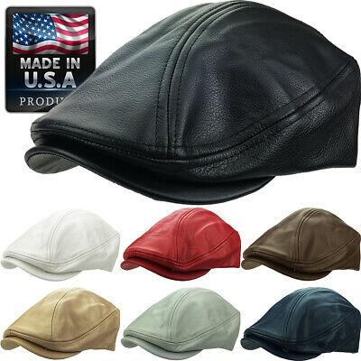 Genuine Leather Gatsby Cap Mens Ivy Hat Golf Driving Winter Flat Cabbie Newsboy