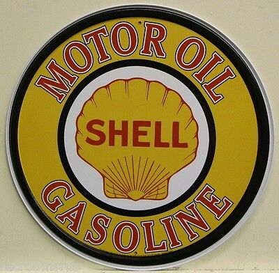 "SHELL GASOLINE logo 12"" metal sign shell motor oil and gasoline gas auto service"