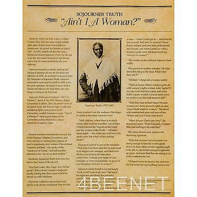 "SOJOURNER TRUTH """"Ain't I A Woman?"" ABOLISHIONIST SPEECH parchment poster NEW"