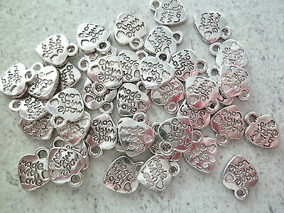 50 pendentifs breloques charms coeur made with love 10 x 12  - création bijoux