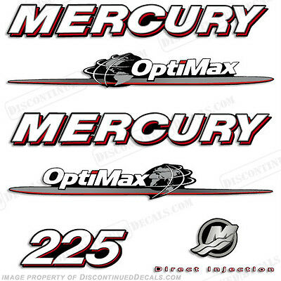 Mercury 225hp Optimax Decal Kit Replacement Decals for Outboard Motors 2007-2012