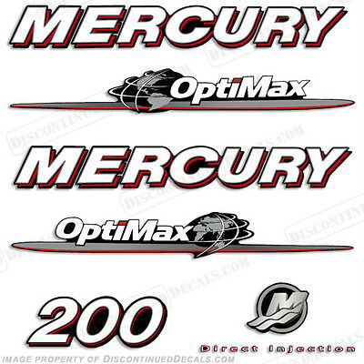 Mercury 200hp Optimax Decal Kit Replacement Decals for Outboard Motors 2007-2012