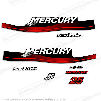 Mercury 25hp Fourstroke Bigfoot Outboard Decal Kit - Reproductions in Stock! RED