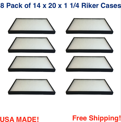 8 Pack of Riker Display Cases 14 x 20 x 1 1/4 for Collectibles Arrowheads & More