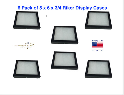 6 Pack of 5 x 6 x 3/4 Riker Display Cases Boxes for Collectibles and Arrowheads