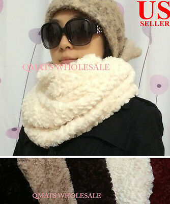 FASHION Faux Fur Loop Circle Infinity Fuzzy Scarf Neck Warmer WINTER GIFT XMAS