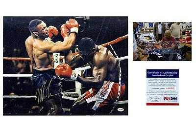 Mike Tyson SIGNED Photo - Autographed 16x20 Picture vs. Frank Bruno - PSA/DNA