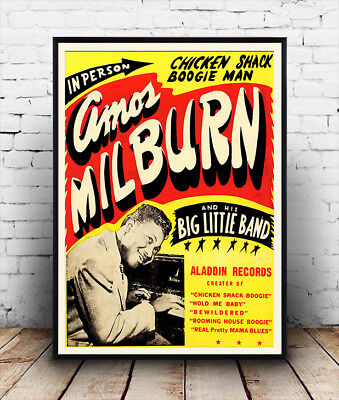 Amos Milburn ,  Vintage 50's concert poster reproduction.