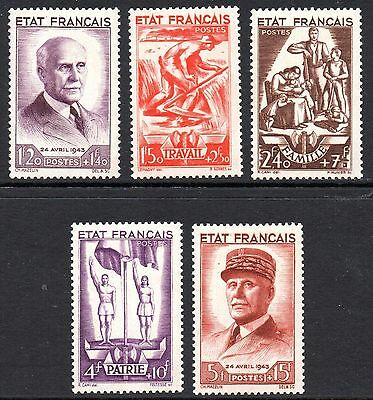 France - 1943 87th birthday Pétain Mi. 589-93 MNH
