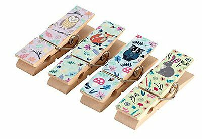 Set Of 4 Woodland Animal Magnetic Pegs Vintage Fridge Magnets Message Note Clips