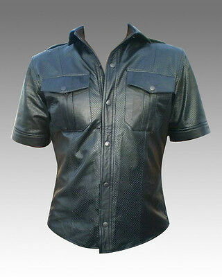 Mens Perforated Leather Shirt Brand New LLL-171 SMALL TO 4XL