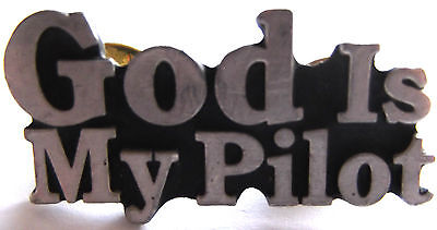 God Is My Pilot Pewter Vest Pin*