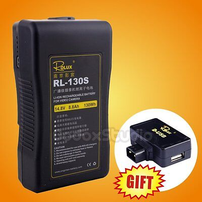 RL-130S 130Wh 14.8V 8.8Ah Li-ion Sony V-mount V-Lock Rechargeable Spare Battery