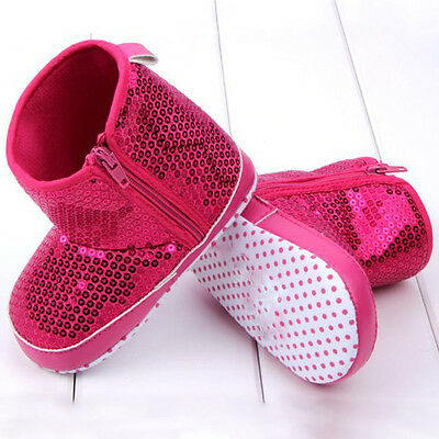 Newborn Baby Girls Sequins High Boots Toddler Soft Bottom Anti Slip Shoes 0-18M
