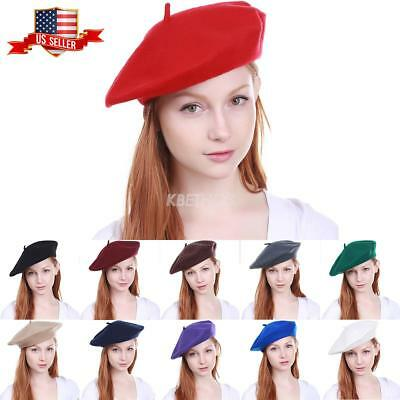 0d4ccbd4ed8c0 New Women s Warm 100% Wool Fashion French Berets Tam Beanie Slouch Hat Cap