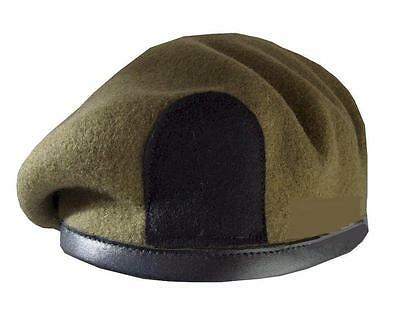 Khaki Wool Beret  New Military Army Issue Khaki Beret With Black Patch For Badge
