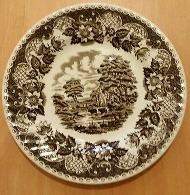"BARRATTS STAFFORDSHIRE WARE ELIZABETHAN BROWN & WHITE PLATE 8 1/4"" / 20.5CM"