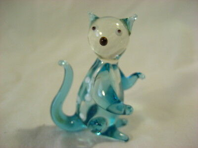 Hand blown Blue and clear cat figurine