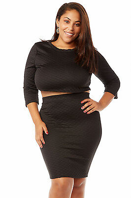 plus size women's Quilted Crop Top and Skirt Set  free shipping hot trendy curvy