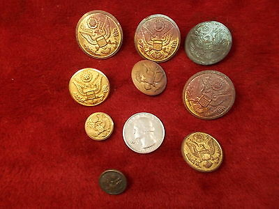 #5 of 10, LOT OF OLD VTG BUTTONS, US ARMY OR MILITARY, UNSURE OF AGE, ALL OLDER