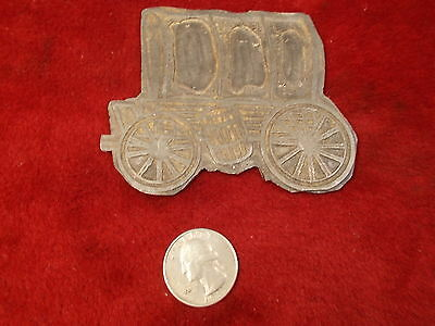 Large Old Vtg Antique Lead Ink Negative Printer's Advertising Stamp, Chuck Wagon
