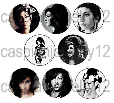 8 piece lot of Amy Winehouse pins buttons badges