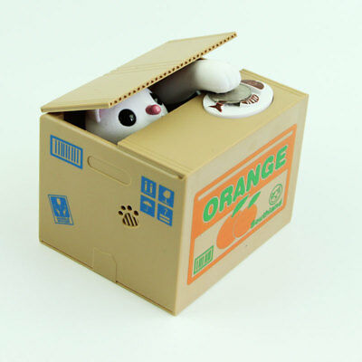 White Cat Itazura Automated Kitty Cat Steal Coin Piggy Bank savings box