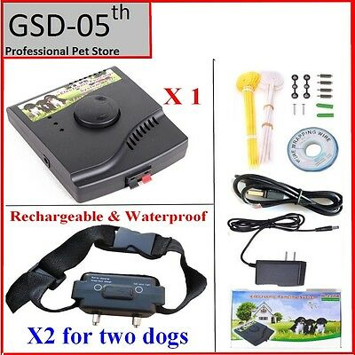 2 Dogs Underground Waterproof Rechargeable Electric Pet Fence System collar 227B