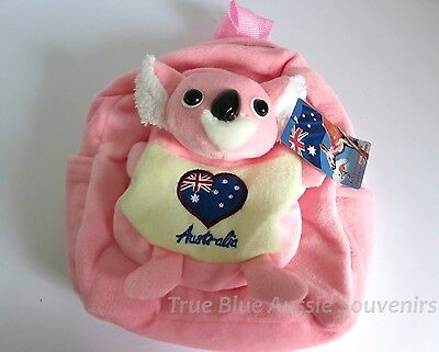 1x Australian Souvenir Plush Backpack - Pink Koala Design - Australia Flag