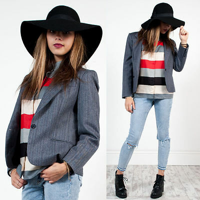 Womens Vintage 80's Saville Grey Striped Pattern Smart Retro Blazer Jacket 10