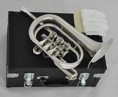 Professional Silver Nickel Rotary Valve Cornet Trumpet New Bb Horn Leather Case