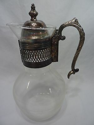 Vintage Glass & Silver Plate Water Pitcher