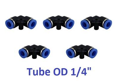 "5pcs Pneumatic Elbow Union Push In To Connect Fitting Tube OD 1/4"" Quick Release"