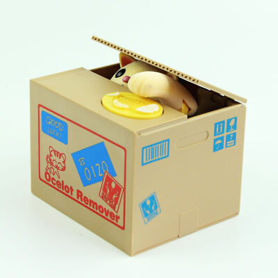 Yellow Cat Itazura Automated Kitty Cat Steal Coin Piggy Bank savings box