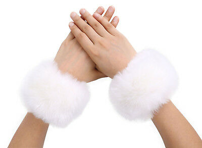 Women Winter Fashion Fuzzy Faux Fur Wrist Short Cuff Bracelet Wrist Arm Warmer